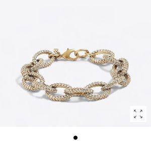 J Crew Gold and Crystal Link Bracelet